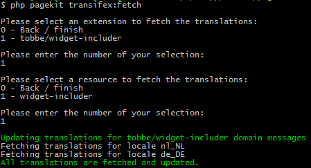 Developer extension - Fetch translations from transifex